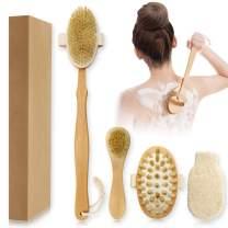 Dry Brushing Body Brush, 4Pcs Detachable Natural Bristles Wet or Dry Body Brush Set with Face Brush, Shower Glove and Massage Brush, For Wash Brushing, Exfoliating