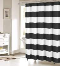 FAMILYDECOR Black and White Shower Curtain Nautical Striped Design Fabric Curtains Bathroom Accessories 48x72