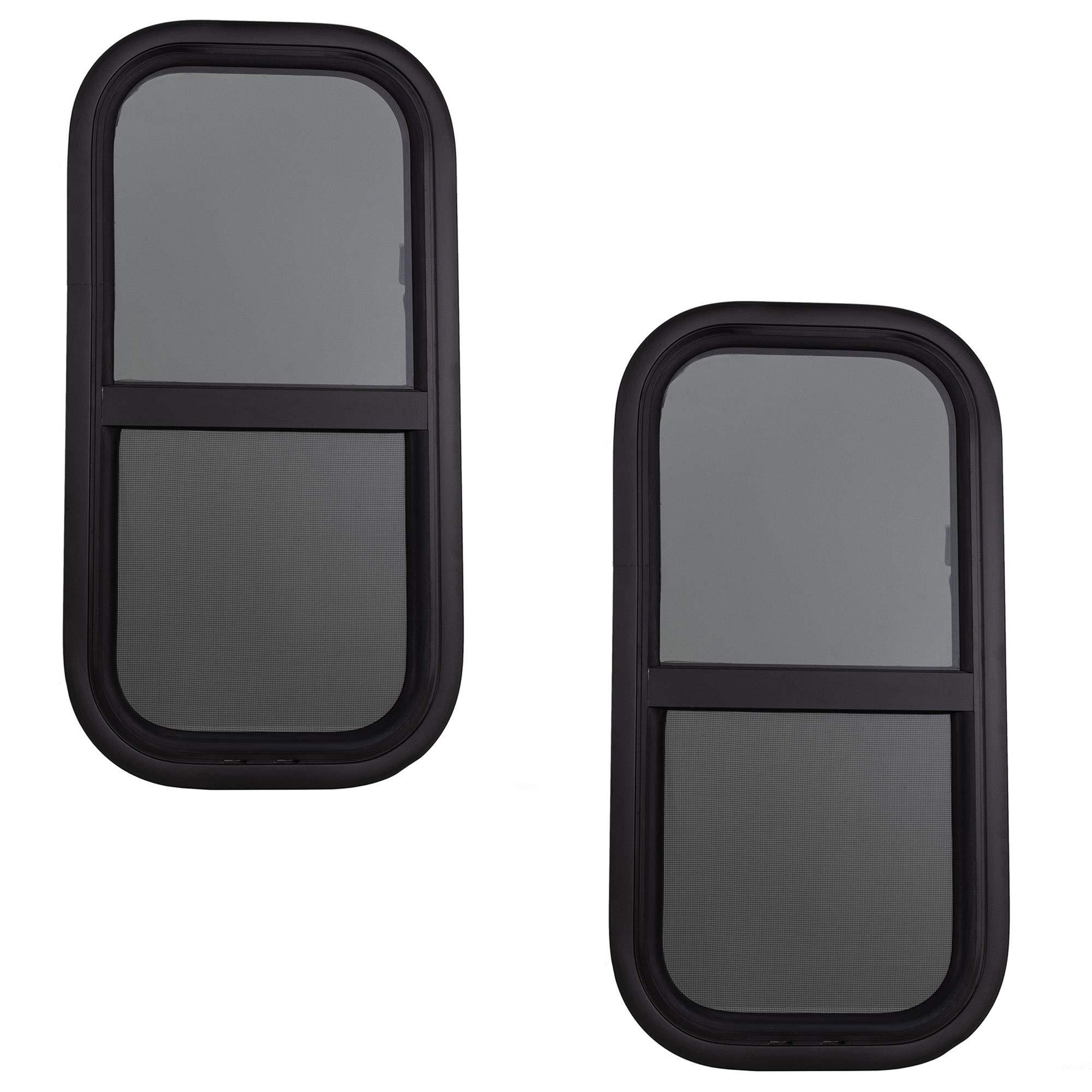 "RV Window | Teardrop 12"" W x 24"" H Vertical Slide | 1 1/2"" Wall Thickness | RV Window Replacement (2 Windows, with Trim Kit)"