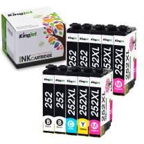 Kingjet Remanufactured Replacements for 252, 252XL, T252, T252XL Ink Cartridge Work with Workforce WF-3620, WF-3640, WF-7110, WF-7210, WF-7610, WF-7620, WF-7710, WF-7720, 10PACK(4BK+2C+2M+2Y)