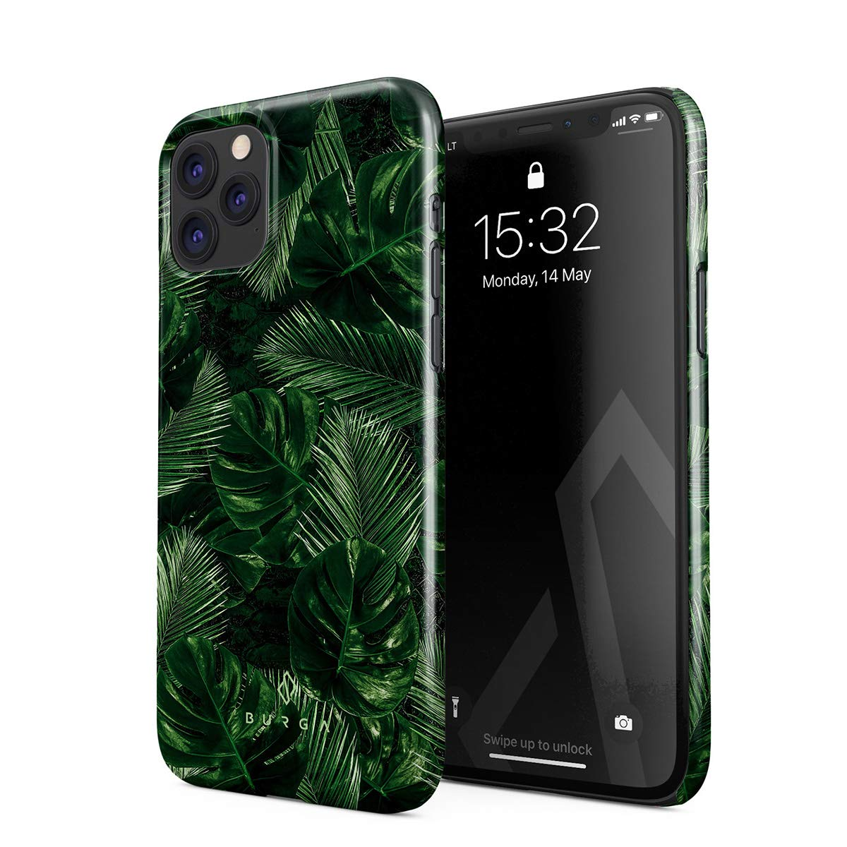 BURGA Phone Case Compatible with iPhone 11 PRO MAX - Tropical Exotic Summer Green Palm Tree Leaf Nature Plant Leaves Cute Case for Women Thin Design Durable Hard Plastic Protective Case