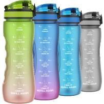 Motivational Water Bottles with Times to Drink, 25oz Leak-proof Time Marker Water Bottle for Adults, Food Grade Tritan Plastic, One-hand Opening Lid (Green-Orange Gradient)