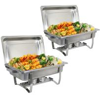 Stainless Steel Chafing Dish Full Size Chafer Dish Set 2 Pack of 8 Quart For Catering Buffet Warmer Tray Kitchen Party Dining (Rectangular)