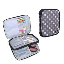 Luxja Carrying Bag for Cricut Pen Set and Basic Tool Set, Double-Layer Organizer for Cricut Accessories (Bag Only), Gray Dots