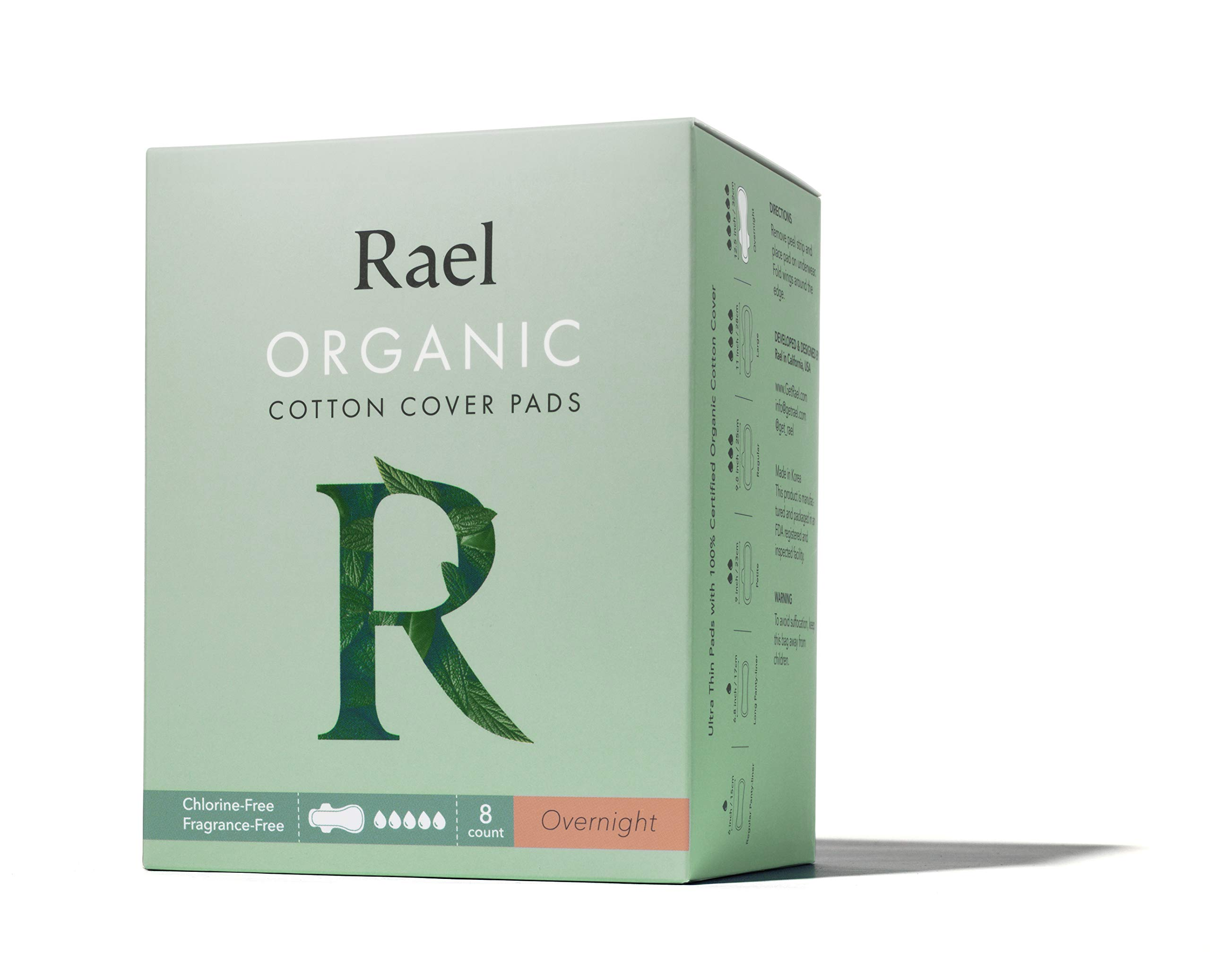 Rael Certified Organic Cotton Menstrual Overnight Pads, Thin Natural Sanitary Napkins with Wings
