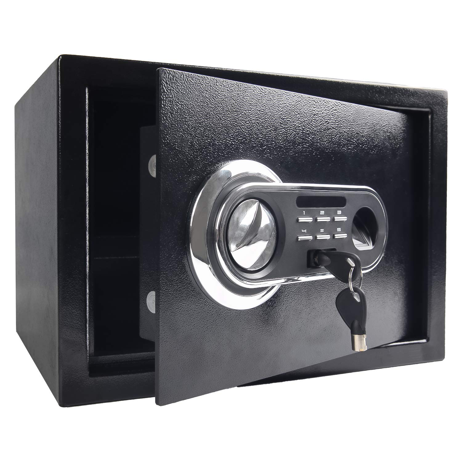 Security Safe Box, Digital and Fingerprint Lock with Key Lock, 13.8 x 9.8 x 10 Inches, Home Safe for Storing Jewelry Gun Cash Use Storage, Black