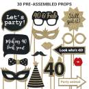 Fully Assembled 40th Birthday Photo Booth Props. 30 Piece Box Set of Gold, Black and Red Accessories with Real Glitter. Original Designs Need No DIY. Great Bday Selfie Party Supply and Decoration Kit.
