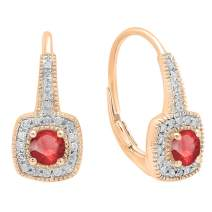 Dazzlingrock Collection 14K 4 MM Round Gemstone & Diamond Ladies Halo Style Dangling Earrings, Rose Gold
