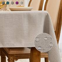 BALCONY & FALCON Rectangle Cotton Linen Tablecloth Heavy Weight Classic Table Cloth Washable 57 x 85 Inch Wrinkle and Water Resistant SquareTable Cover for Indoor and Outdoors