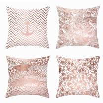 """Set of 4 Pillow Covers Super Soft Flower Love Heart Anchor Stripe Printed Decorative Throw Pillow Case Cushion Cover for Home Couch Festival Party Pillowcase 18"""" x 18"""" (Rose Gold)"""