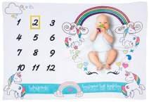 Unicorn Milestone Blanket Rainbow Baby Milestone Blanket Unisex Photography Background Blanket Soft Premium Flannel Photo Blanket Picture Blanket,Large 55''40''