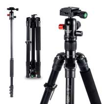 "MACTREM Tripod DSLR SLR Tripod, 62.5"" Light-Weight Aluminum Alloy Camera Tripod Phone Tripod with Phone Holder, 360 Degree Ball Head, Detachable Monopod, 34lbs Load with Carry Bag, Black"