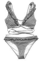 CUPSHE Women's Falbala Cross Design Bikini Set Hawaii Sunrise Beach Swimwear