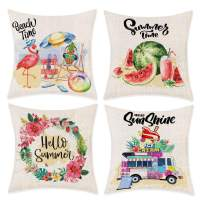 Bonsai Tree Summer Pillow Covers, Hello Summer Time Wreath Watermelon Pillow Cases 18x18 Inches, Flamingo Pineapple Cotton Linen Throw Pillow Covers Ice Cream Truck Home Decor for Sofa Couch Set of 4