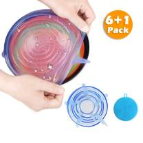 six-qu Silicone Storage Covers, 6-Pack of Various Sizes Silicone Stretch Lids for Can, Jar, Glassware, Food Saver Covers Safe in Dishwasher, Microwave and Freezer(Blue), cookware_set, cookset
