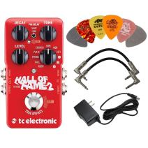 TC Electronic Hall of Fame 2 Reverb Effects Pedal BUNDLE with AC/DC Adapter Power Supply for 9 Volt DC 1000mA, 2 Metal-Ended Guitar Patch Cables AND 6 Dunlop Guitar Picks