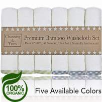 Channing & Yates - Premium Baby Washcloths - Bamboo (6-Pack) Organic Baby Wash Cloths 2X Thicker & Softer - 10 x 10 in - Perfect for Eczema - Adult Face Washcloths (Blue/Green on White)