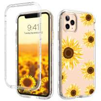 GUAGUA iPhone 11 Pro Case Sunflower Clear Flowers Floral 3 in 1 Hybrid Hard Plastic Soft TPU Bumper Cover Shockproof Protective Phone Cases for iPhone 11 Pro 5.8-inch 2019 Transparent Yellow