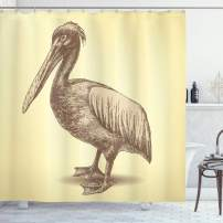 """Ambesonne Vintage Yellow Shower Curtain, Hand Sketch Style Pelican Bird Wildlife Inspired Animal Artwork, Cloth Fabric Bathroom Decor Set with Hooks, 75"""" Long, Yellow Brown"""