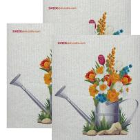 SWEDEdishcloths Flower in Pail Set of 3 Each Swedish Dishcloths | ECO Friendly Absorbent Cleaning Cloth | Reusable Cleaning Wipes | Swedish Dish Cloths