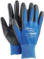 """Ansell 112076 HyFlex 11-618 Lightweight Precision Glove, 0.42"""" Height, 10"""" Length, 5"""" Wide, Size 9, Blue (Pack of 12)"""