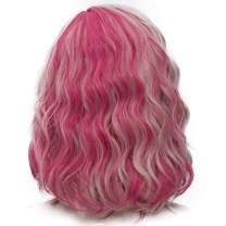 Probeauty Sweety Rainbow Collection Lolita 40CM Short Curly Women Lolita Anime Cosplay Wig + Wig Cap (Blonde Mix Purple)