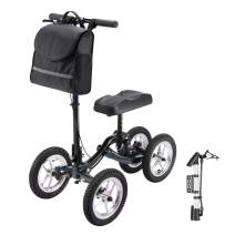 AW Outdoor Indoor Medical Terrain Steerable Knee Scooter Walker Crutch Alternative All-Terrain with Disk Brake for Foot Leg Injuries