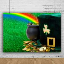 Baocicco 5x4ft Happy St. Patrick's Day Backdrop for Photography Pot of Gold Backdrop Green Hat Backdrop Rainbow Backdrop Photography Background Lawn Backdrop Festival Props Booth Video Props