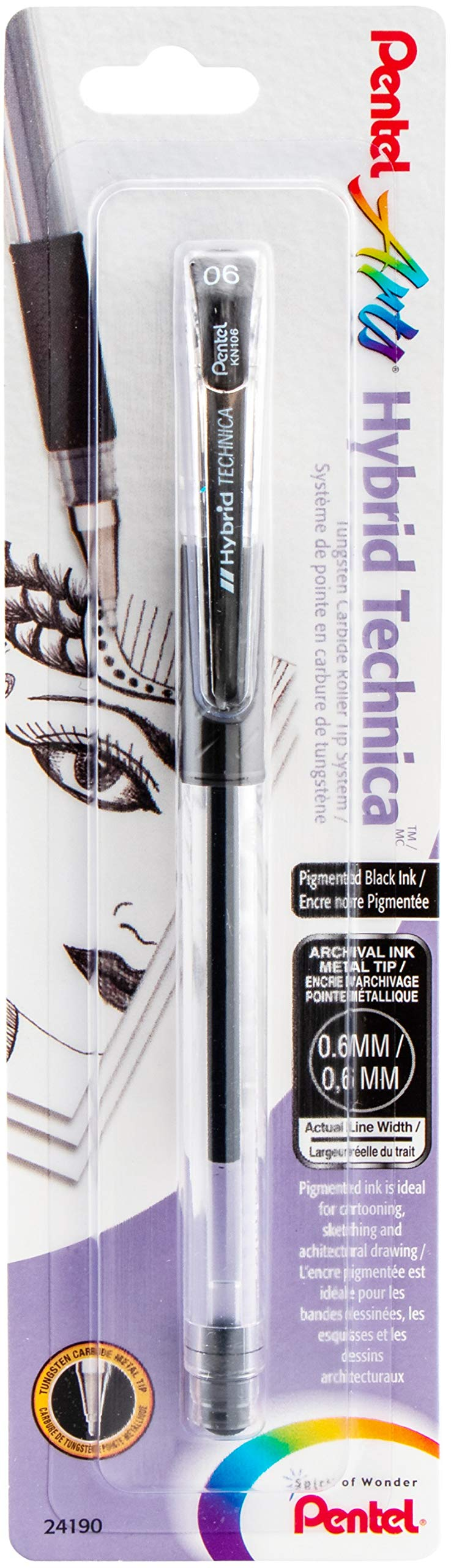 Pentel Arts Hybrid Technica 0.6 mm Pen, Fine Point, Black Ink, 1 Pack (KN106BPA)