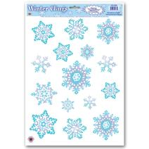 Crystal Snowflake Clings 12in. X 17in. Sh (15/sh) Party Accessory (1 Count) (1/pkg) Pkg/6