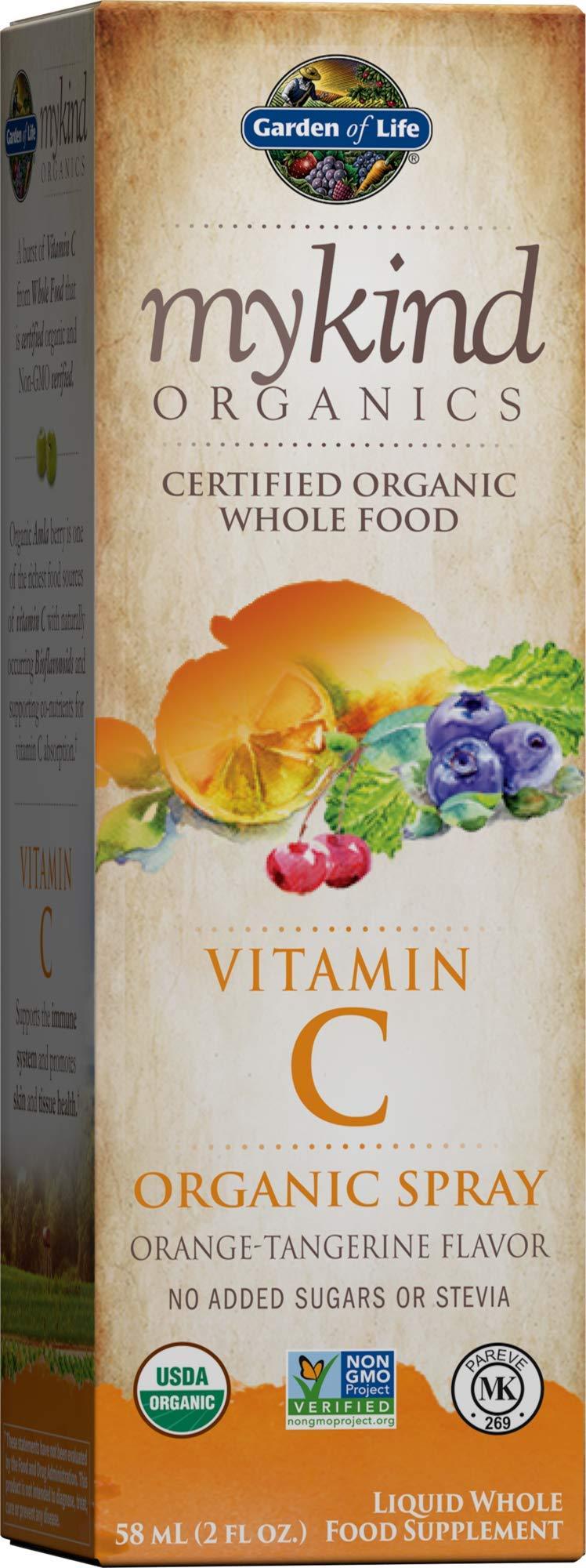 Garden of Life Vitamin C with Amla - mykind Organic Whole Food Supplement for Skin Health, Orange Tangerine Spray, 2oz Liquid