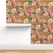 Spoonflower Peel and Stick Removable Wallpaper, Mustard Floral Pink Green Nursery Coral Peach Evergreen Poppy Bright Print, Self-Adhesive Wallpaper 24in x 36in Roll
