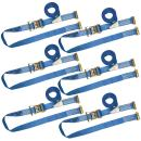 VULCAN Logistic Strap for E Track, Ratchet Style - 20 Foot, 6 Pack - Blue - 1,333 Pound Safe Working Load