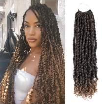 Callia Pre-twisted Passion Twist Crochet Hair 7 Packs Passion Twist Crochet Braids Pre-looped Water Wave Crochet Hair Extension(18 Inch, T27)