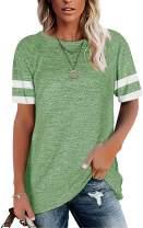 HUUSA Womens Short Sleeve Crewneck Shirts Casual Loose Tee T-Shirt Tops