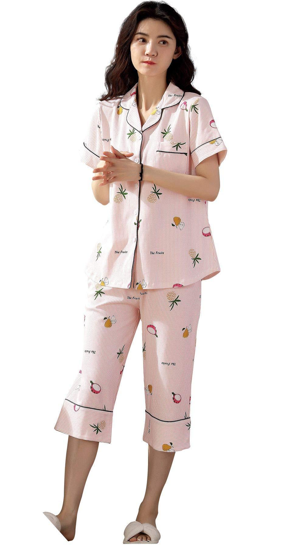 Pajamas for Women Two Piece Capri Pajama Sets Striped Sleepwear Soft Pjs Lounge Sets