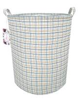 """TIBAOLOVER 19.7"""" Large Sized Waterproof Foldable Canvas Laundry Hamper Bucket with Handles for Storage Bin,Kids Room,Home Organizer,Nursery Storage,Baby Hamper (Red and Blue Square)"""