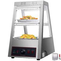 VEVOR 110V 16-Inch Commercial Food Warmer Display 2-Tier 800W Electric Countertop Food Warmer Display 86-185℉ Pastry Display Case with 2 Trays & 1 Bread Tong for Buffet Restaurant Hamburger Pizza
