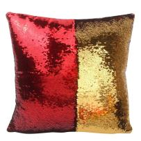 """URSKYTOUS Reversible Sequin Pillow Case Decorative Mermaid Pillow Cover Color Changing Cushion Throw Pillowcase 16"""" x 16"""",Red and Gold"""