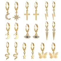 AIDSOTOU Small Butterfly Star Hoop Earrings Set for Women Girls Mini Huggie Hoop Earrings with Dangle Charms