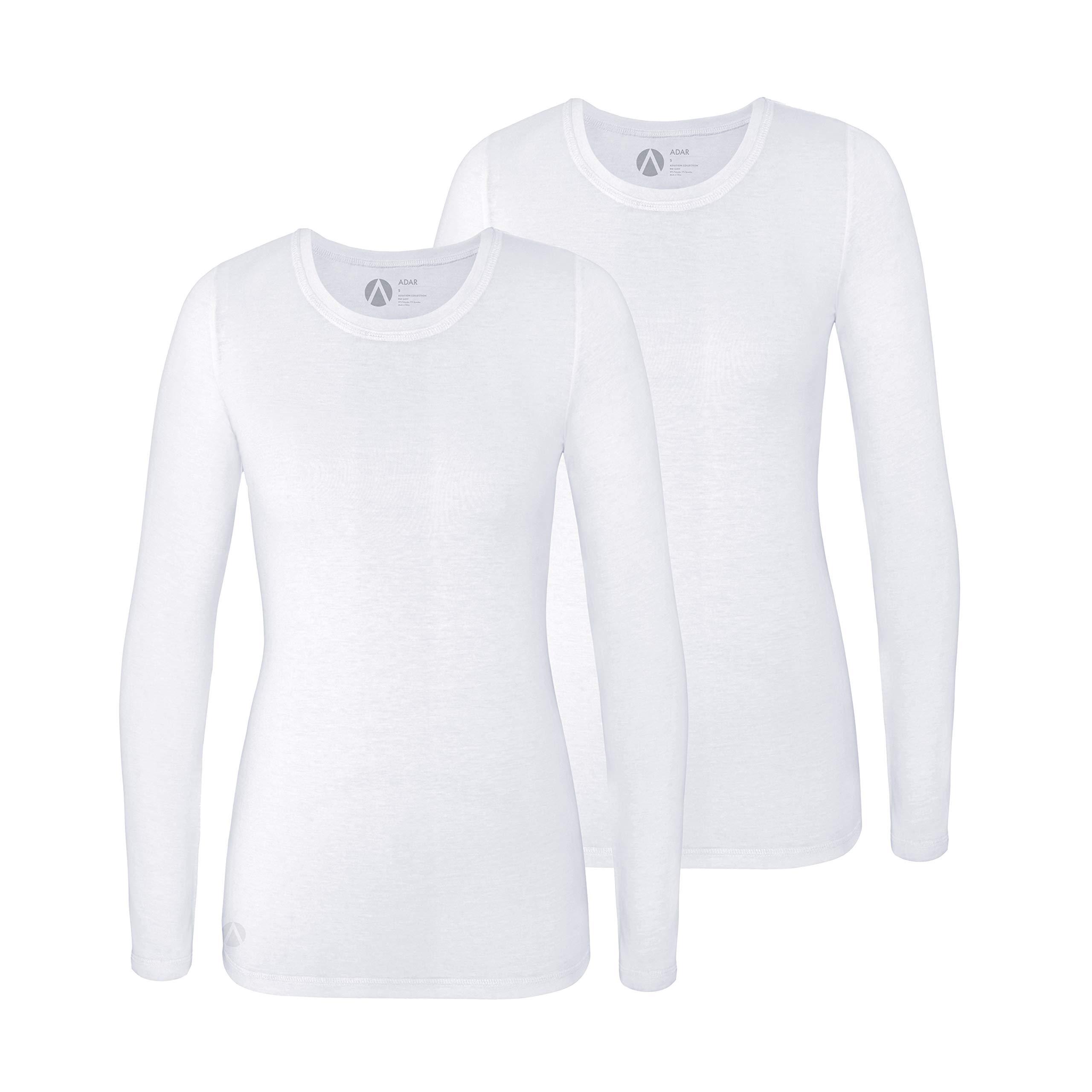 Adar Underscrub Tee 2 Pack for Women - Long Sleeve Fitted Underscrubs