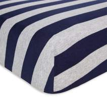 Burt's Bees Baby - Fitted Crib Sheet, Boys & Unisex 100% Organic Cotton Crib Sheet For Standard Crib and Toddler Mattresses (Blueberry Bold Stripes)