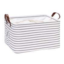 Hinwo 31L Large Capacity Storage Basket Canvas Fabric Storage Bin Collapsible Storage Box with PU Leather Handles and Drawstring Closure, 16.5 by 11.8 inches, Waterproof Inner Layer, Grey Stripe
