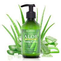 Bighture Aloe Vera Gel, 100% Pure Aloe Vera Organic from Freshly Cut Aloe Leaves, Skin Care for Deeply&Rapidly Soothing, Firming, Whitening, After Shave, Sunburn Relieve,etc
