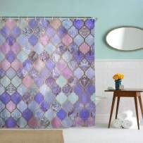 IcosaMro Purple Shower Curtain for Bathroom with Hooks, Geometric Boho Lavender Mosaic Long Cloth Fabric Shower Curtain Bath Decorations, 71Wx72L, Purple
