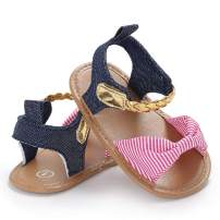Bebila Bow Baby Girl Sandals - Anti-Slip Rubber Soled Infant Flats Summer Shoes for Toddler&Crib&Newborn&First-Walkers