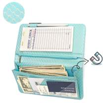 Mymazn Server Wallet Waitress Book Magnetic with Money Zipper Pocket Shimmer Waiter Organizer Fits Restaurant Guest Check Order Pad (Big Size 5 X 9, Mermaid Blue)