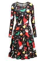lymanchi Women Christmas Long Sleeve Flared Dresses Printed A-line Casual Tunic