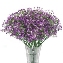 """HANTAJANSS 12 pcs Baby Breath Gypsophila Artificial Flowers Bouquets Fake Real Touch Flowers for Wedding Party Decoration DIY Home Decor 21"""" Purple"""
