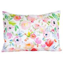 """ADDISON BELLE 100% Organic Toddler Pillowcase Fits Both 13""""x18"""" and 14""""x19"""" Pillows - Soft, Durable & Breathable (Watercolor Floral)"""